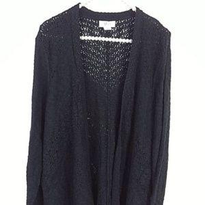 Style & Co Sweaters - Style & Co Sweater XL Black Crochet Open Front -YY